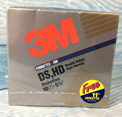 """NEW 3M Floppy Disketts 11 - 5 1/4"""" Double Sided High Density Disks DS HD 10 IBM"""