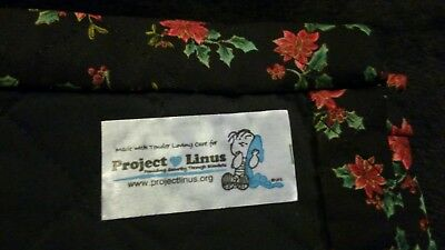 Project Linus (Peanuts) Hand Made Security Baby Blanket Quilt Poinsettia