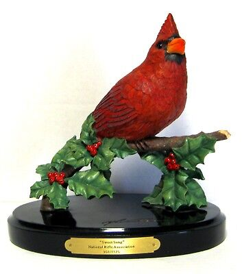 "Christmas Red Cardinal Bird On Holly Branch Signed Sculpted Figure ""sweet Song"""