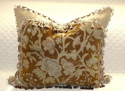"HUGE ANTIQUE FLORAL NEEDLEPOINT TAPESTRY PILLOW IN EARTH TONES #2 24"" x 27"""