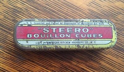Vintage Tin Steero Bouillon Cubes Rust American Kitchen Products Advertising