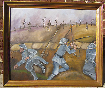 WW I Battle Scene painting on canvass signed framed