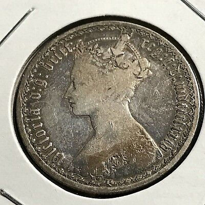 1874 Great Britain Silver Gothic Florin Nice Coin