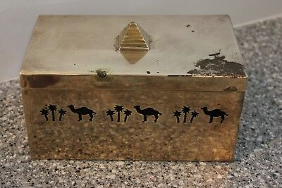 Vintage 1992 Camel Cigarette Classic Solid Brass Box From India W/ Lid Free Shpg