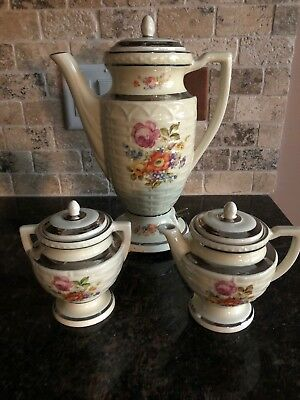 Porcelier USA Basketweave & Wild Flower Coffee Pot w/ Cream & Sugar - No Cord
