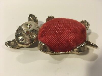 Vintage Gold And Red Velvet Pin Cussion Mouse Figure, Rhinestone Eyes