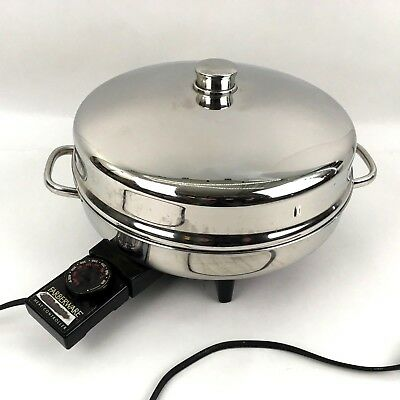 """Farberware Electric Skillet 12"""" Fry Pan High Dome Lid Stainless Steel 344A"""