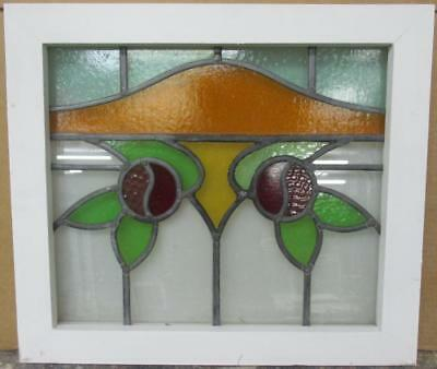 "OLD ENGLISH LEADED STAINED GLASS WINDOW Gorgeous Double Floral 21"" x 18.25"""