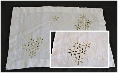 ANTIQUE Linen BUTLERS TRAY CLOTH Beautiful Cutwork Lace & Embroidery 17 x 25 Vtg