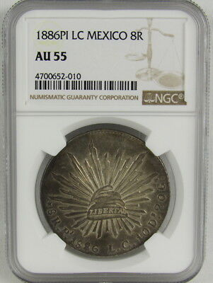 MEXICO 1886 Pi LC 8 REALES NGC AU55
