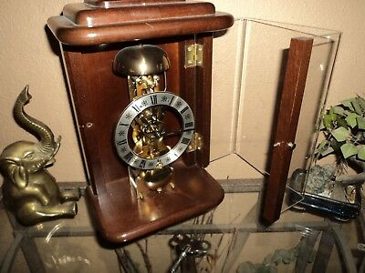 Nice German Hermle Key Wound 8 Day Striking Bell Skeleton Clock