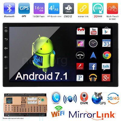 "7"" Touch Screen Bluetooth WIFI Android 7.1 Car Stereo MP5 FM BT Radio GPS Navi"