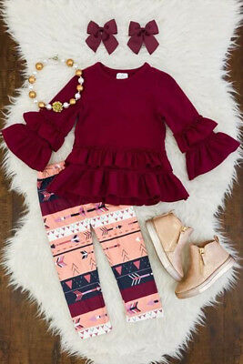 2pcs Floral Kids Baby Girls Outfits Clothes Long Sleeve Tops Dress+Pants Set USA