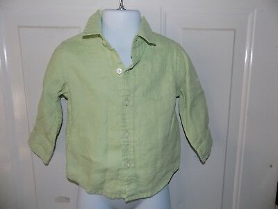 Janie And Jack Long Sleeve Mint Green Button Down Shirt Size 6/12 Months  EUC