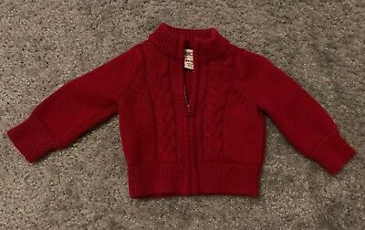 Cherokee Red Holiday Sweater Size NB Pullover Newborn Infant Christmas