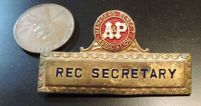 Vintage A & P Grocery Store Supermarket Managers Benefit Assoc. A&P Badge