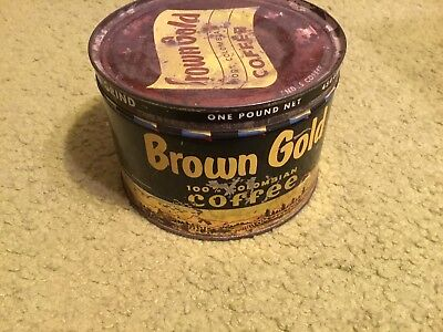 Vintage BROWN GOLD Coffee Tin Can