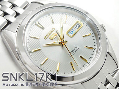 New!! SEIKO 5 Automatic SNKL17K1 Stainless Steel Day Date White Dial Men's Watch