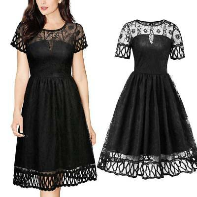 Women's Floral Lace Hollow Out Short Sleeve See Through Sexy Midi Dress Cocktail