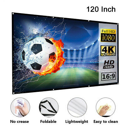 "100"" & 120'' Portable Foldable Projector Screen 16:9 HD Home Theater 3D Movies"