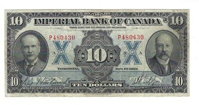 1923 IMPERIAL BANK OF CANADA $10 TEN DOLLARS NOV 1ST, 1923 Howland Signature