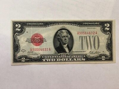 $2 DOLLARS 1928 A red seal  NOTE XF+   BD10