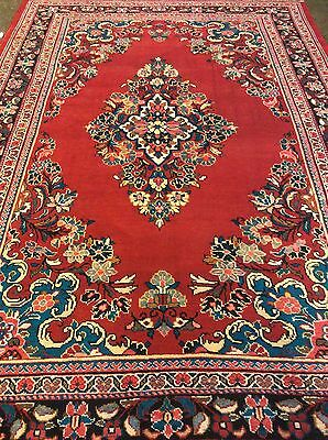 Persian Mahal Rug 8x10  Hand knotted in Iran. 100% wool pile. Open Red Field