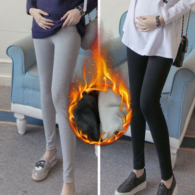 Pregnancy Maternity Winter Cotton Abdominal Stretchy Leggings Pants With Fleece