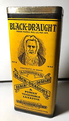 M.A. THEDFORD & CO. BLACK DRAUGHT - Vintage Vegetable Laxative Tin Box