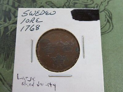 1768 Sweden 1 Ore Large Shield Variety KM# 491