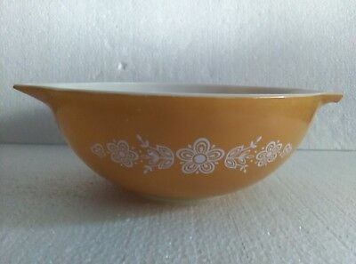 Vintage PYREX Mustard Yellow Floral Design Mixing Nesting Bowl #444 4Qt EX Cond