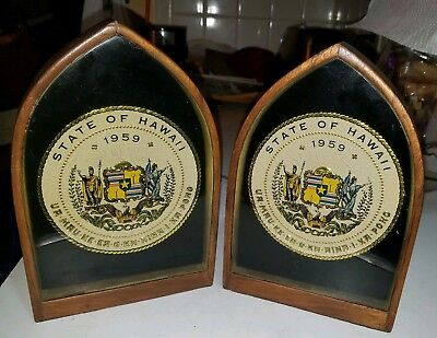 Vintage Hawaii State Seal Wood & Glass Shadow Box Bookends