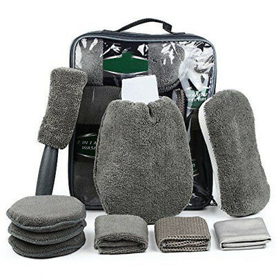 9Pcs Car Wash Cleaning Kit Auto Care Superfine Gray Include Microfiber Towels