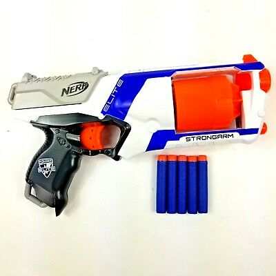 NERF N Strike Elite Strongarm 6 Shot Gun White Revolver Dart Gun With Ammo Euc