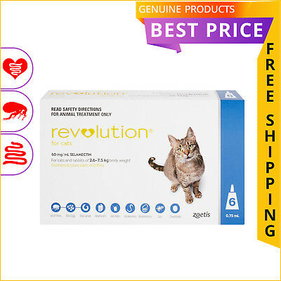 Revolution for Cats 2.6 to 7.5 Kg Blue 6 Doses by Zoetis Flea Heartworm Control