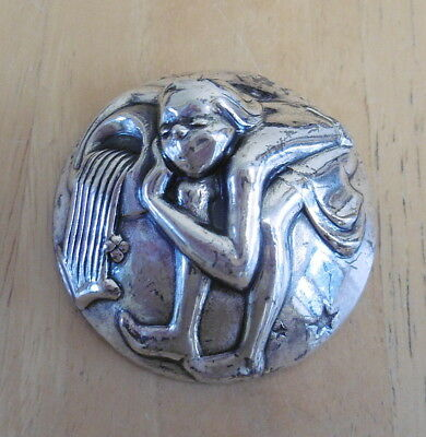 RARE! 1940's Silver Plated Astrology Aquarius Brooch By Joseff Of Hollywood