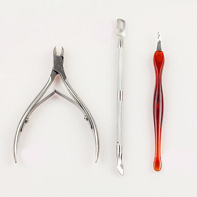 3 Pcs NAIL ART MANICURE Tools SET CUTICLE PUSHER REMOVER NIPPER CLIPPER KIT