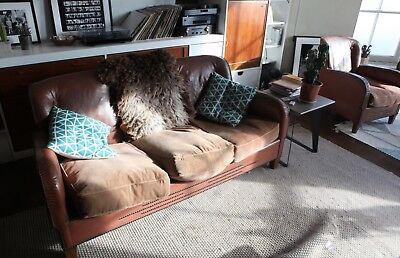 Vintage 1940'S Danish Sofa And Chair Set (in need of repair) Brown Leather
