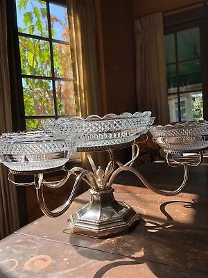 "Antique Silver Plate Epergne, English, 18"" across, 8 'tall,"