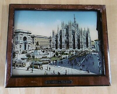 Antique Framed Bubble Glass Photo With Mother Of Pearl Inlay - Ricordo Di Milano