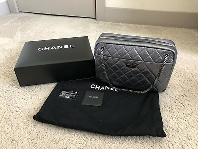 f6de417864b8ed CHANEL 2.55 Reissue CAMERA BAG DARK SILVER Quilted Leather sz Large!!! RARE!
