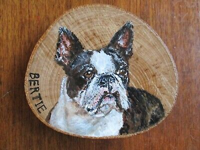Custom Original Acrylic Pet Portrait on Wood from your photo + card -great gift!