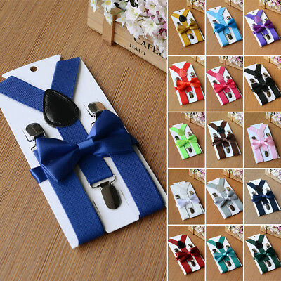 Matching Braces Suspenders And Bow Tie Set Kids Baby Boys Wedding Formal Y Back