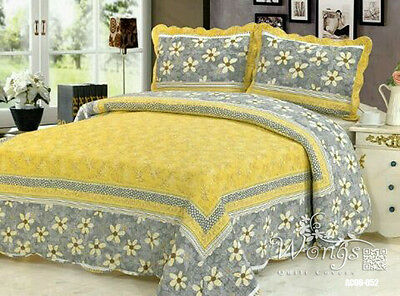 Floral Quilted Patchwork Queen King Size Bedspreads Set Coverlet Blanket Throw