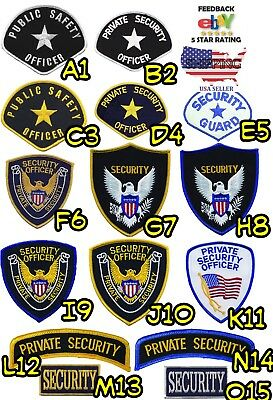 Private Security Officer White Black Blue Yellow Shoulder Patches Public Safety