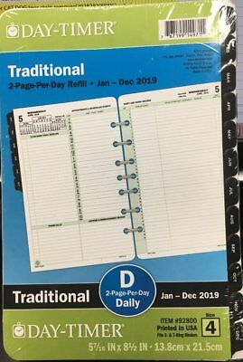 Day-Timer 2019 Planner Refill 2 Page/Day Traditional item 92800 Size 4