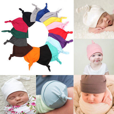 Baby Newborn Boys Girls Beanie Knotted Cotton Hats Soft Cap Toddle Infant Hat