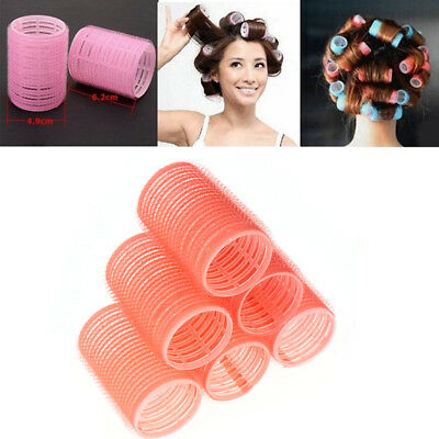 New 6Pcs Big Self Grip Hair Rollers Cling Any Size DIY Hair Curlers Make Up Tool
