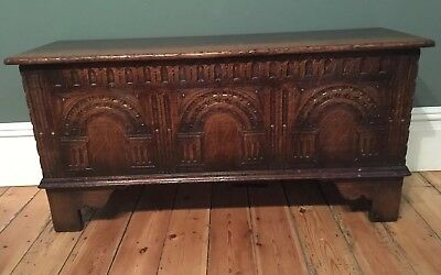 Titchmarsh And Goodwin Jacobean Style Small Carved Oak Coffer
