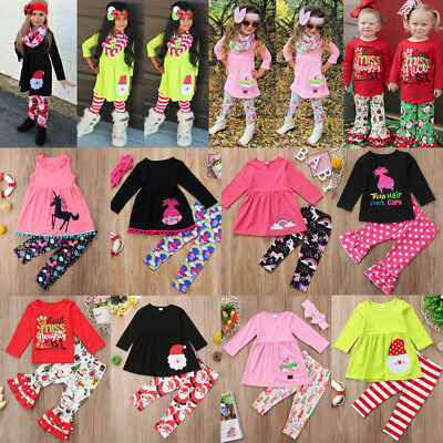Kids Toddler Baby Girls Outfit Set Ruffle Top Tee + Long Pants Clothes Tracksuit